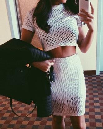 blouse crop tops shirt skirt mesh white two-piece mesh crop tops mesh skirt mesh two piece