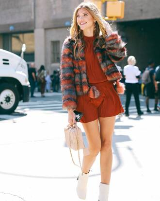 jacket tumblr fur coat printed coat printed fur jacket fur jacket romper burgundy rust boots fall colors