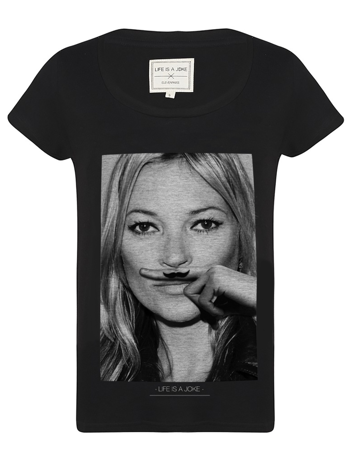 Kate moss mustache graphic black t