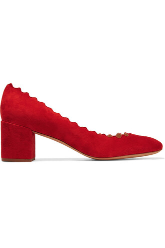 suede pumps scalloped pumps suede red shoes