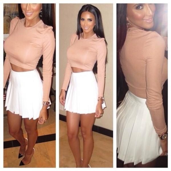 White pleated mini skirt outfit – Fashionable skirts 2017 photo blog