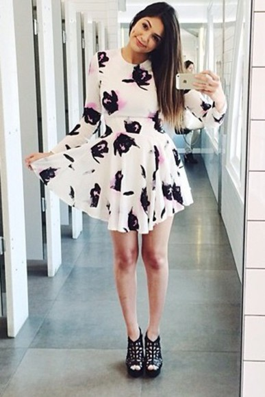 pattern long sleeved skater dress bethany mota aeropostale youtube