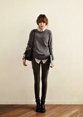 sweater casual smart loose fit sweater grey jeans chelsea boots blouse korean fashion hipster loose grey sweater grey