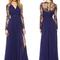 Nextshe 2015 women fashion elegant maxi vestido long sleeve embroidery spliced side slit pleated chiffon dress navy xs~xxl on aliexpress.com | alibaba group