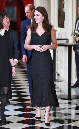 shoes pumps kate middleton midi dress black dress