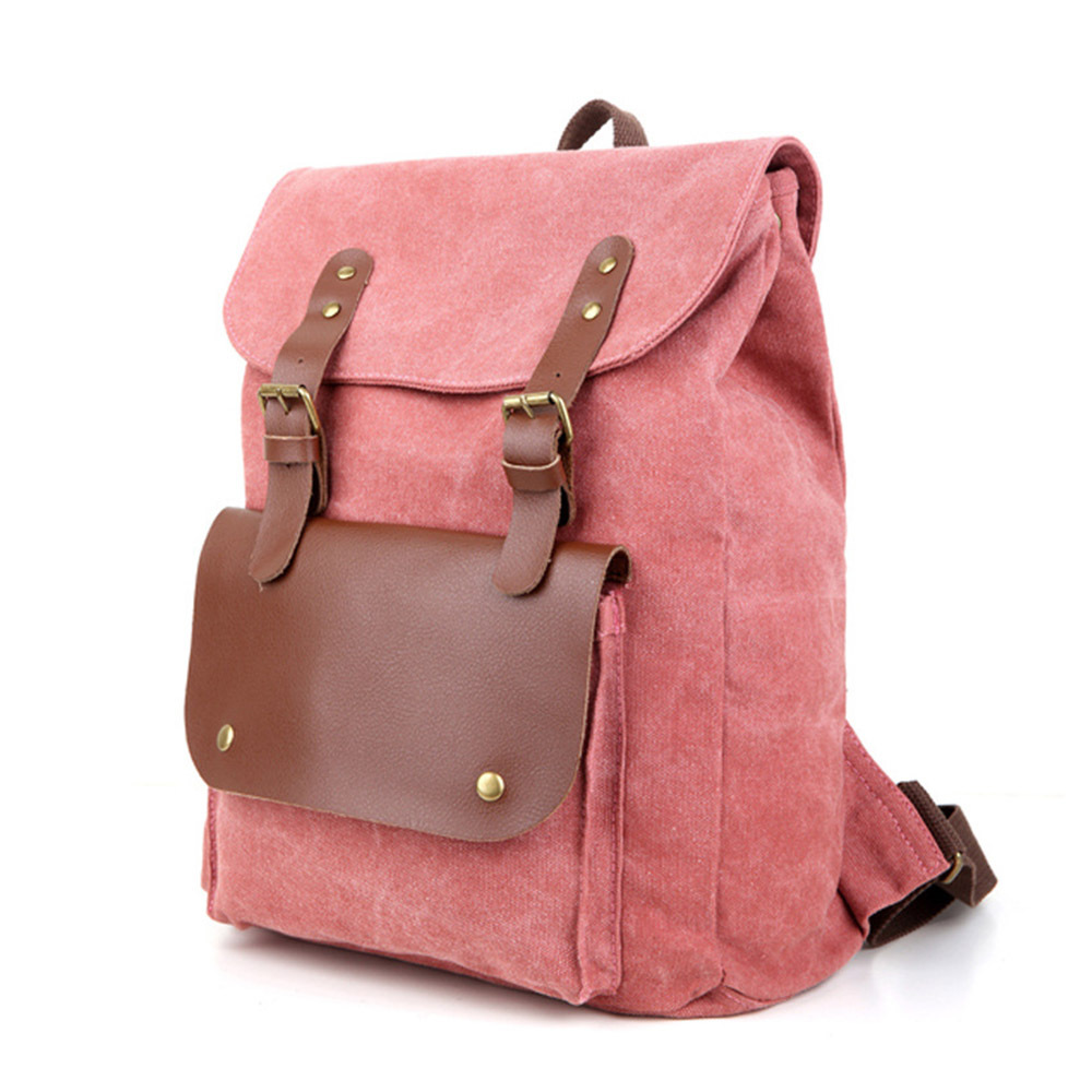 [grxjy5204237]fashion contrast color canvas backpack school travelling bag