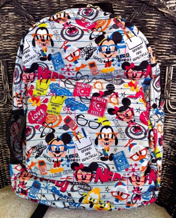 bag mickey mouse backpack cute colorful nerd