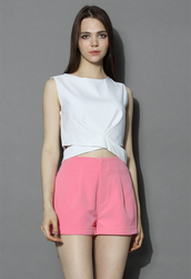 top,chicwish,textured white cropped top with cutout waist,white top,summer top,cutout top,textured top,chicwish.com