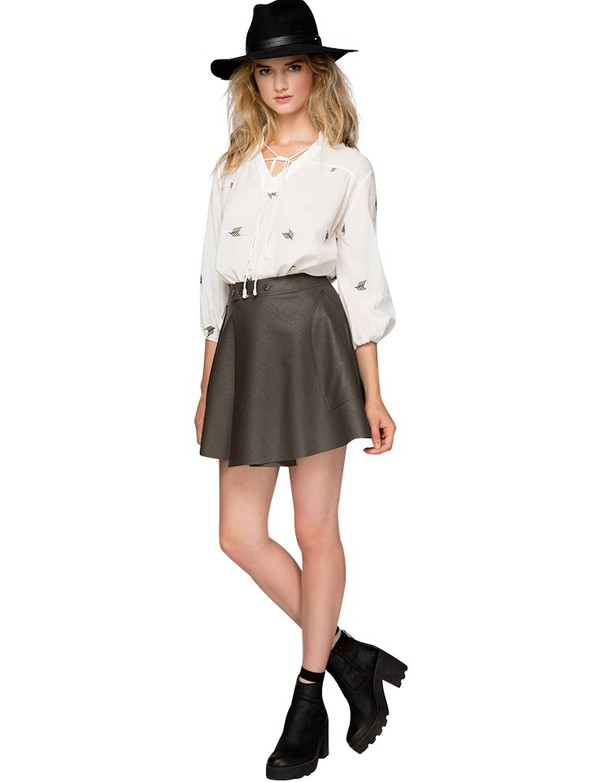 Skirt: olive leather skirt, olive skirt, pleather skirt, skater ...