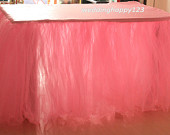 Custom Tulle Table Skirt for Wedding, Birthday, party, Celebration - snow blue- Square