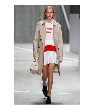 sweater pleated skirt white skirt white sweater trench coat lacoste fashion week 2015
