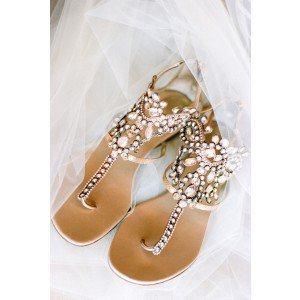 Womens Brown Rhinestone Flip Flops Wedding Shoes Flats Sandals