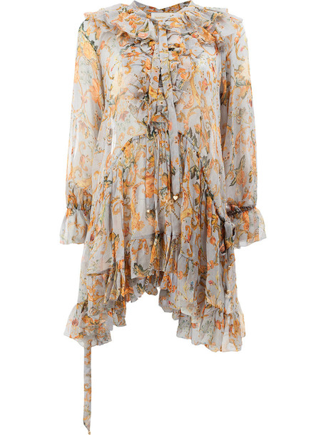 blouse women floral nude silk top