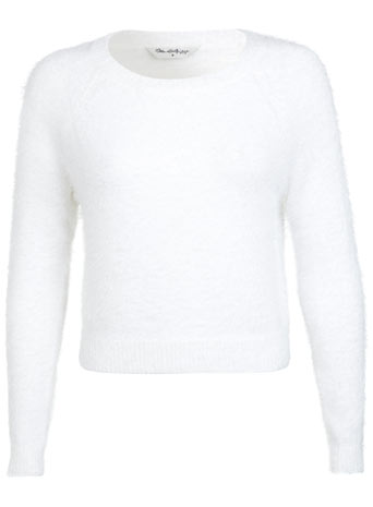 White Fluffy Cropped Jumper - Knitwear  - Clothing  - Miss Selfridge