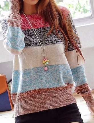 sweater multicolor cute cozy winter outfits fasion clothes