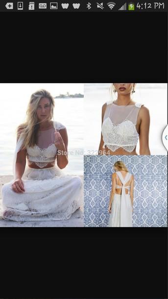 dress boho dress two piece dress set wedding dress