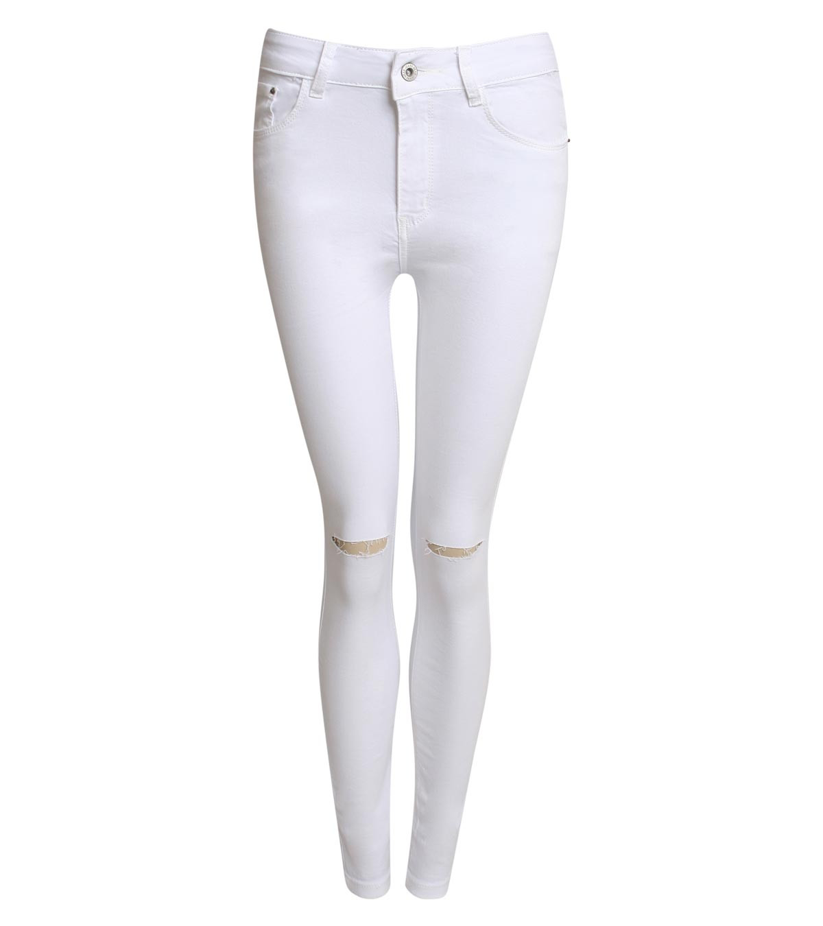 High Waist Ripped Knee Skinny Jeans in White – p i l o t