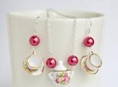 jewels,miniature,miniature teacup,teacup,teacup earrings,chic,boho,silver,handmade,jewelry,jewelry set,pink,pink jewelry