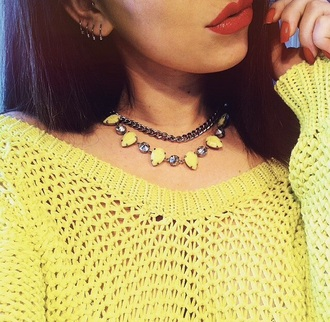 jewels sweater necklace yellow top winter sweater yellow top yellow necklace yellow jewels pearl strass silver earrings style
