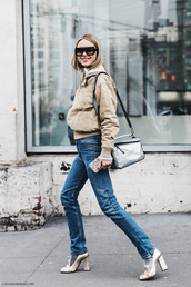 shoes,pilgrim shoes,high heel loafers,gold shoes,high heels,jeans,blue jeans,jacket,beige jacket,bag,silver bag,streetstyle,fall outfits