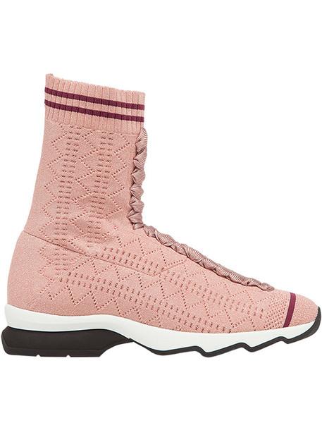 Fendi high women spandex sneakers purple pink shoes