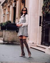 dress,mini dress,plaid dress,over the knee boots,brown boots,white blouse,black bag,black sunglasses