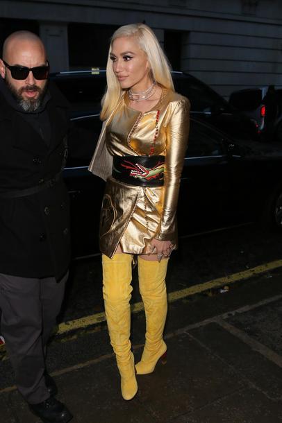 dress gold gold dress metallic boots gwen stefani yellow yellow boots belt