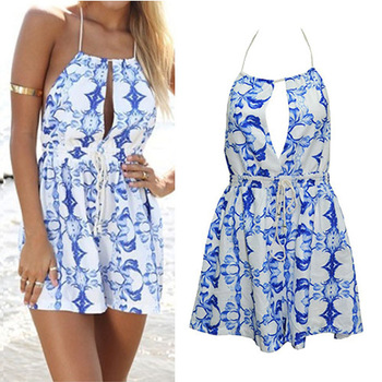 87a0f61d99b4 Aliexpress.com   Buy Hot Women s Fashion Blue   White Floral Sleeveless  Backless Short Party Playsuit Jumpsuit ...