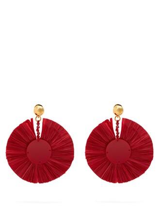 embellished earrings red jewels