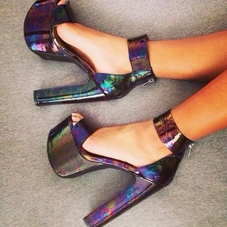 shoes platform high heels high heels metallic rainbow shiny