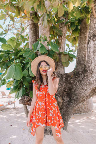 romper hat tumblr floral floral romper red romper sun hat sunglasses