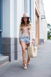 maria vizuete,mia mia mine,blogger,coat,shorts,shoes,bag,hat,nude top,white jacket,denim shorts,pink hat,nude heels