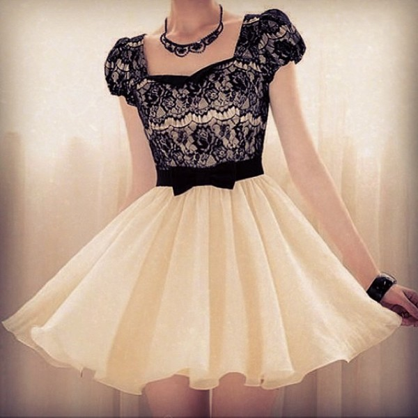 dress black white bow lace black and white black and white dress white dress lace bodice black lace b&w pastel goth lace dress homecoming dress floaty dress black bow delicate organza princess dress goth dress chic