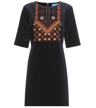 dress embroidered cotton velvet blue