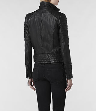 Femme pitch leather biker (black)