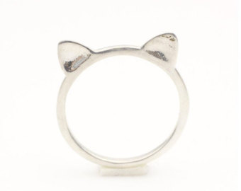 Cat ring, kitty cat ring, cat ears ring, knuckle ring, pinky ring in gold or silver, sterling silver 925 cat ring