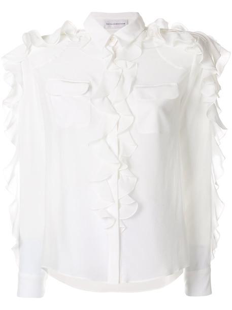 Faith Connexion - ruffled shirt - women - Silk Satin - S, White, Silk Satin