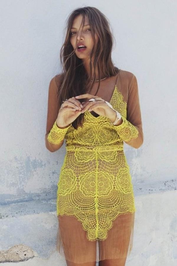 dress lace yellow mesh