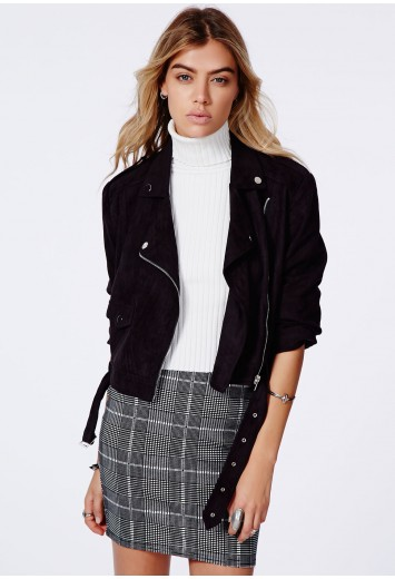Zazula faux suede biker jacket black