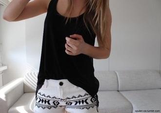 shorts short white black aztec aztec short