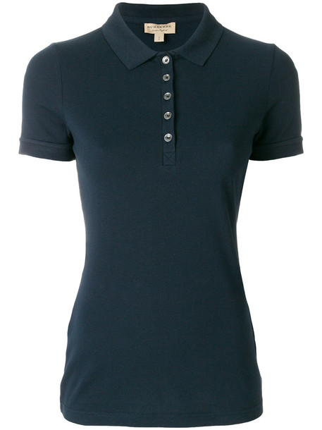 Burberry shirt polo shirt women classic spandex cotton blue top