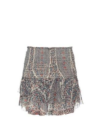 skirt printed skirt ruffle cream