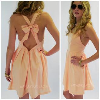 dress pink dress back zipper closure versatile dress open back with bow