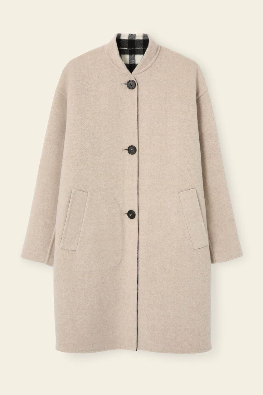 Reversible Bicolor Wool Stand Collar Coat - Beige/Checker