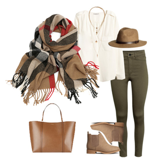 blouse white top white blouse white floppy hat khaki floppy hat hat khaki scarf infinity infinity scarf boots ankle boots black black ankle boots jewelry bracelets fall outfits f/s sheinside