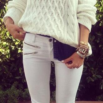 pants black and white jeans skinny jeans sweater white jumper cozy tumblr pretty oversized long sleeves jeans summer girly
