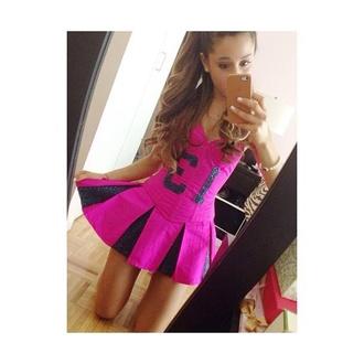 dress pink pink dress sporty ariana grande football football dress grande kenley collins
