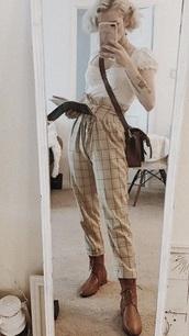 jeans,cozykitsune,tan,plaid,pants,adventure,cotton