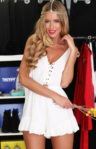 dress romper sold out on beginning boutique romper low back v neck off-white tieup jewels ebonylace.storenvy ebonylace-streetfashion