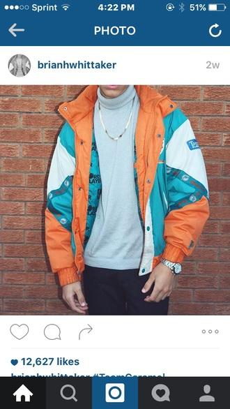 jacket orange blue white bomber jacket